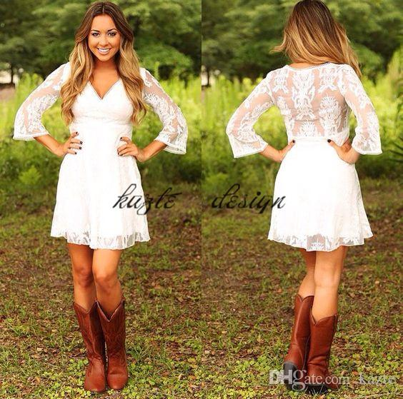 Discount Short Lace Cowgirls Country Wedding Dresses With