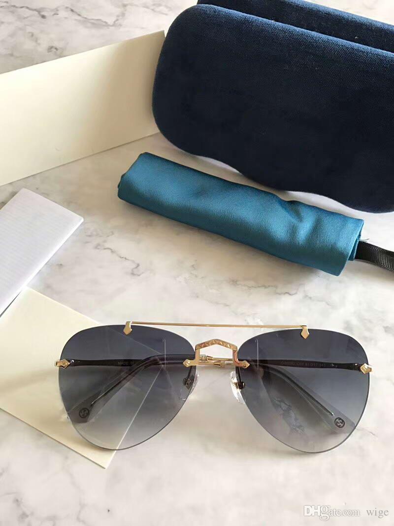 f4bca1cf55 Vintage Pilot Sunglasses Gold Grey Gradient Lens 61mm Fashion 0082  Sonnenbrille Occhiali Da Sole Luxury Designer Sunglasses Sun Glasses New  Polarised ...