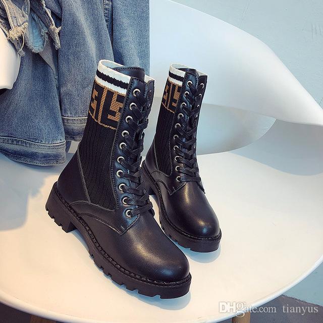 Luxury Winter Women Outdoor Boots 2018 Designer Leather Warm Elastic ... 3e06613d4e5b