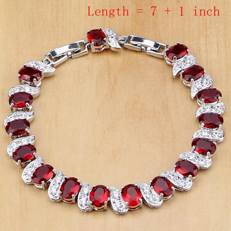3eb447f6f878 Compre Rojo Natural Plata De Ley 925 Conjuntos De Dijes De Piedra Natal Rojo  Pendientes   Colgante   Collar   Anillo   Pulseras T055 Conjuntos De  Mujeres A ...