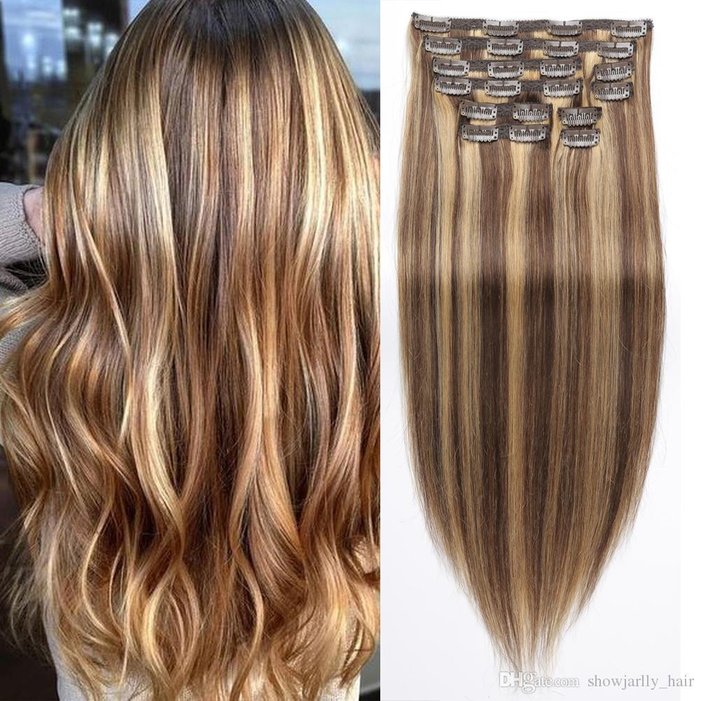 Hair extensions clip in 100 human hair