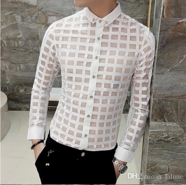 Erkekler için rahat Gömlek Moda Dantel Ekose Gömlekler See Through Erkek Gömlek Giyim Giyim Adam Tek Göğüslü Ücretsiz Nakliye için Tops