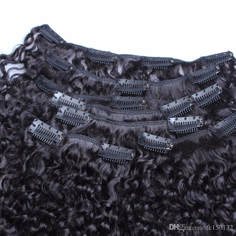 Kinky Curly Clip In Human Hair Extensions Set Nautral Color Clip-in Full Head Remy Hair 4B 4C 3B 3C