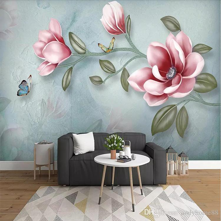 7def786430640 3d large mural oil painting floral wallpaper hand painted bedroom tv  background wall paper American retro dark wall cloth