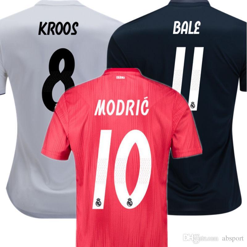 e71803c0e Soccer Jersey REAL MADRID 2019 Camisetas De Futbol Champions 2018 KROOS  BALE MODRIC 18 19 Third Pink Home White Away Black Football Shirt UK 2019  From ...