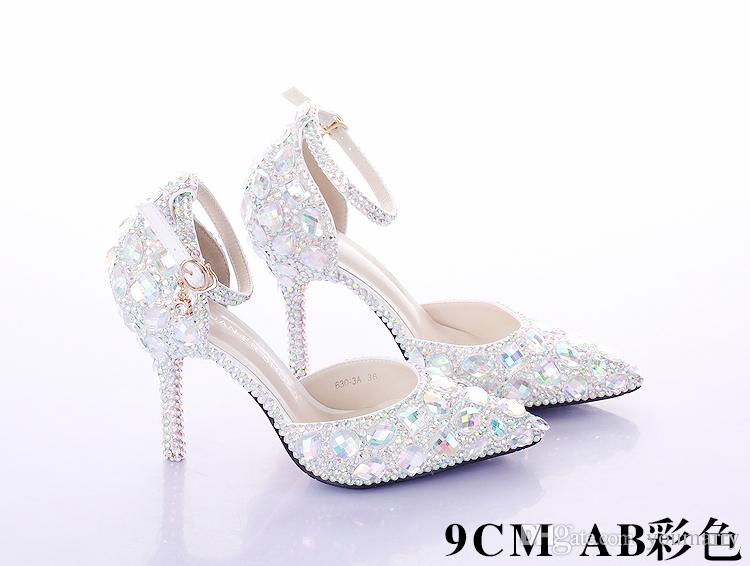 più nuovo cristallo strass lucido tacco alto femminile della signora delle donne da sera festa di promenade club bar da sposa scarpe da damigella d'onore