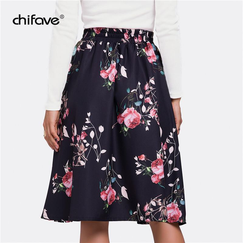 9d813ee5f0f 2019 2018 Women Pleated Skirt Casual High Wasist Skater Skirt Spring Autumn  Vintage Floral Print Retro Plus Size Midi Skirts Chifave From Red2015