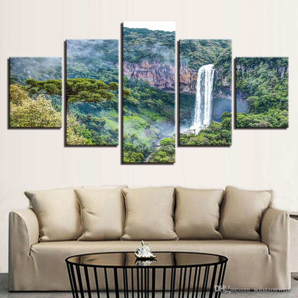 Modern Home Living Room Wall Art Decor Paintings 5 Pieces HD Printing Green Mountain Waterfall Landscape Modular Canvas Pictures