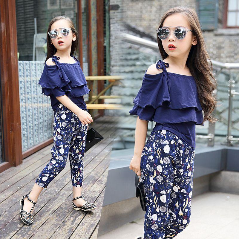 71bb94f4e2d 2019 2018 Summer New Fashion Clothing Korean Girl Sling + Floral Loose  Children Short Sleeve Set High Quality Brand Clothes From Meganchildren