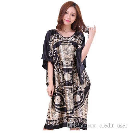 6a4da62412b Plus Size Black Women s Summer Lounge Robe Lady New Sexy Home Dress Rayon  Nightgown Large Loose Sleepwear Bathrobe Gown
