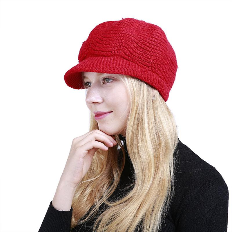 Hat Women Crochet Knit Solid Cap Winter Peaked Cap Warm Caps Female Rabbit  Hair Knitted Stylish Hats For Ladies Fashion Summer Hats Funny Hats From ... ab72ae50d08