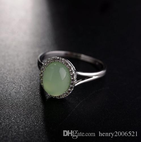 Aniversario de compromiso de boda accesorios de ropa Tres anillos de piedra Anillo de jade verde lleno de oro blanco de 18 k tamaño 7 8 9