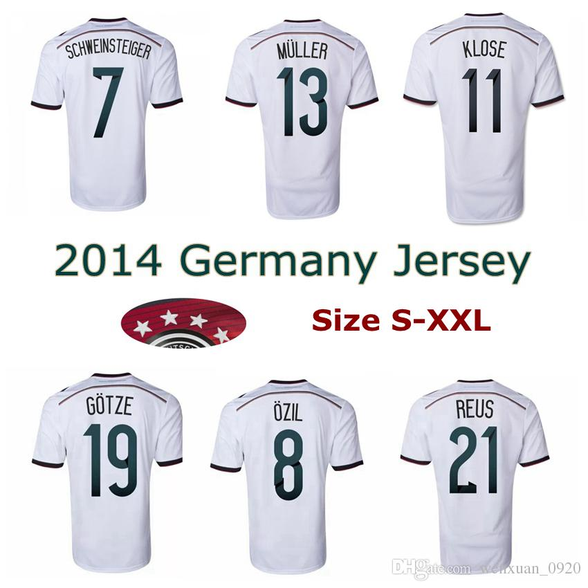 2f3b47d71 2019 2014 Germany World Cup Home Soccer Jerseys 4 Stars 14 15 Thai Quality  SCHWEINSTEIGER OZIL Gotze Reus Muller Football Shirts Size S 2XL From ...
