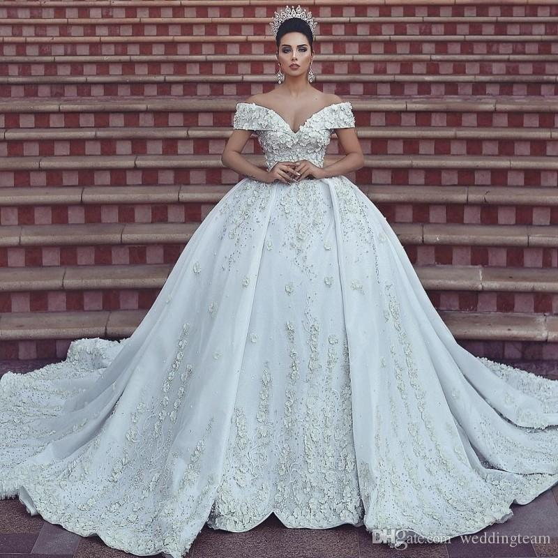 Over The Top Wedding Gowns: Luxury Lace Ball Gown Wedding Dresses Off The Shoulder V