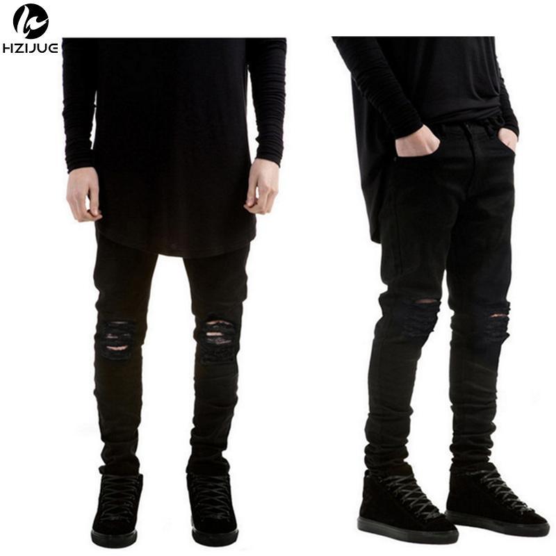 Compre HZIJUE Marca Negro Rasgado Hombres Jeans Con Agujeros Marca Súper  Delgada Slim Fit Destruido Jeans Rasgados Pantalones Para Hombre A  31.48  Del ... e70de6ccd631