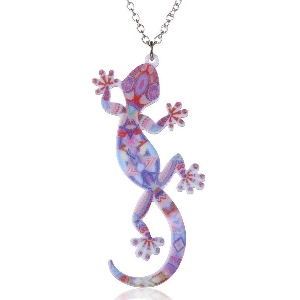 Fashion Animal Gecko Lizard Necklace Earring Sets Acrylic Women Jewelry Set Enamel Jewelry Gecko Wedding Jewelry Set Xmas Gift