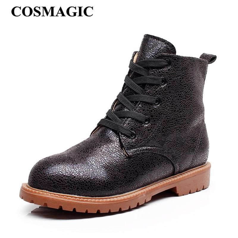 wholesale 2018 New Women Solid Motorcycle Martin Boots British Style Gothic Punk Lace Up Low Heel Short Boot Shoe