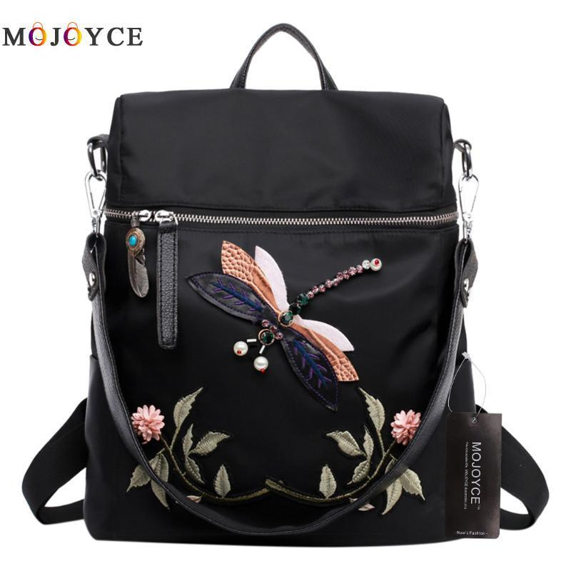 2 Ways Wearing Retro Backpack Women Teenage Girl Dragonfly Embroidery Nylon  School Shoulder Bag Female Backpack Mochila Feminina Y18110202 Jansport ... e7618bd06d