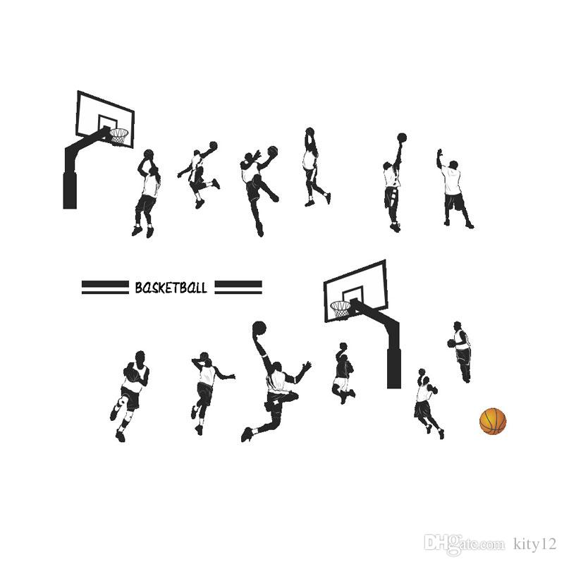 Hot sale New Basketball Player Wall Stickers Removeable DIY Decal Nursery wallpaper for Boys Room Living Bedroom Home Décor