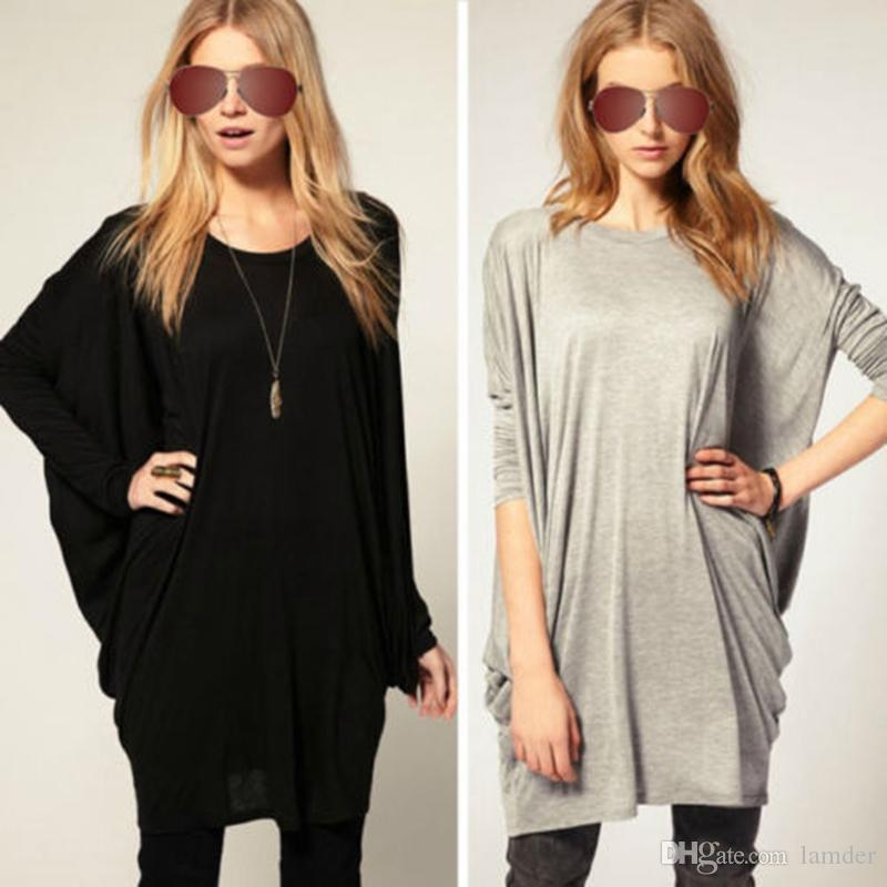 Wholesale-2016 Spring Autumn Women Casual Loose T-shirt Fashion Ladies O-neck Batwing Full Sleeve Oversize Long Tops Tee Shirts Plus Size