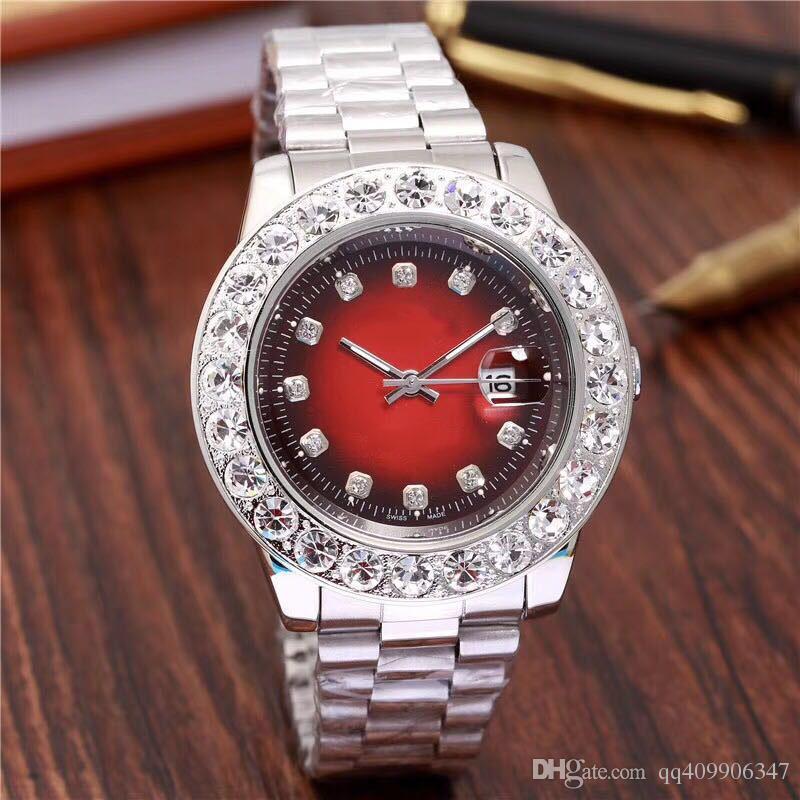 Compre 2018 Relogio Hombres De La Marca De Lujo Para Hombre Relojes  Diamantes Grandes Día Fecha Marca Acero Inoxidable Presidente Perpetuo Reloj  De Pulsera ... 4298357fad6f