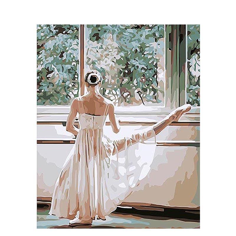 Großhandel Ballett Tänzerin Diy Malen Nach Zahlen Kit Acrylfarbe Auf ...