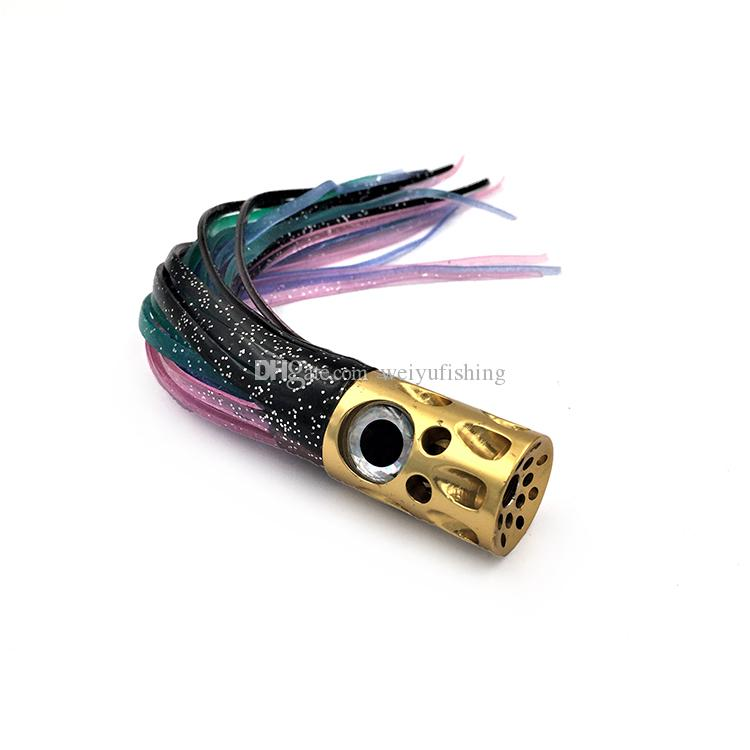 Free Shipping 6.5inch Porous Cupface Jet Big Eyes Aluminum Head with Double Skirt Big Game Fishing Trolling Lure