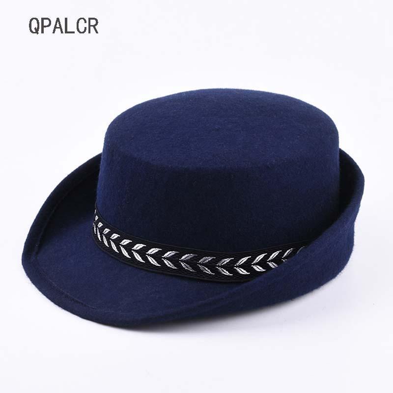 2019 QPALCR Winter Wool Felt Hats Women Airline Stewardess Hat Sexy Formal  Uniform Fedora Hat Caps Accessory Flat Top Curl Dance From Hoganr 6628b35602b