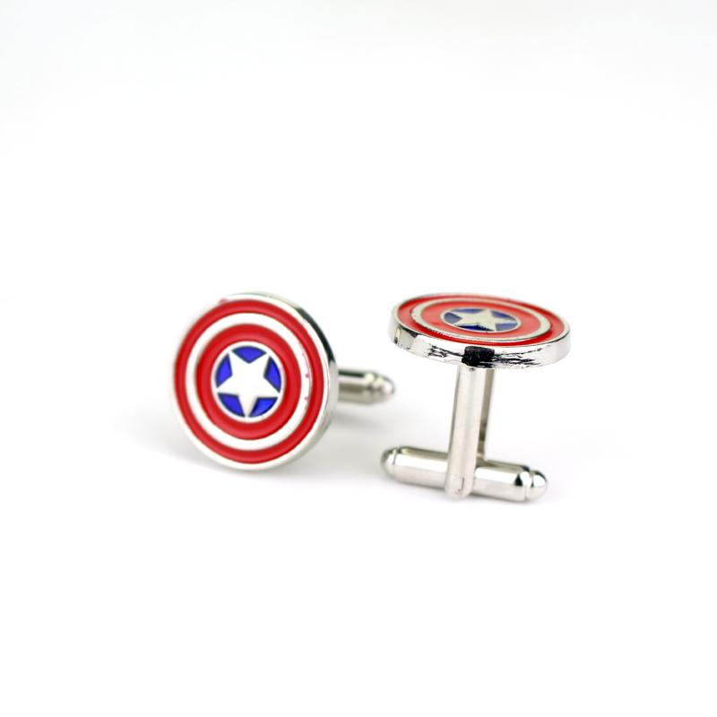 Marvel Super Hero Metal Cufflinks The Avengers Captain France Cuff Links for Men Shirts Accessory Movie Jewelry Cuff Button Gift