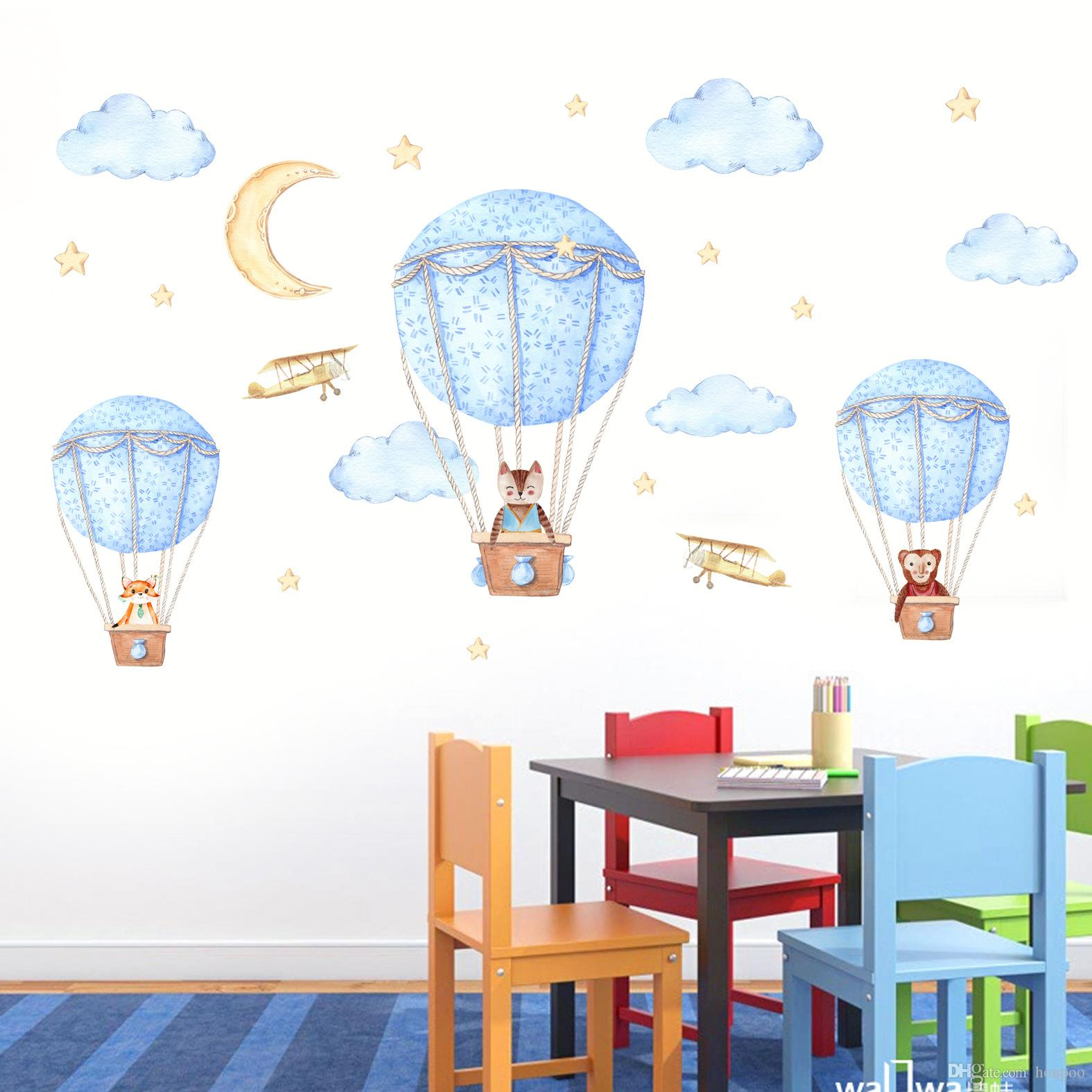 Cartoon Hot Air Balloon Wall Sticker Wallpaper Wall Picture Art