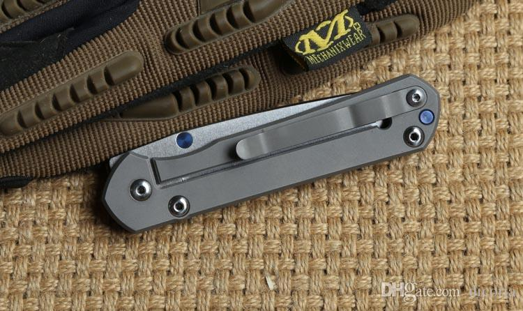 Chris Reeve pequeño Sebenza D2 cuchillo de hoja plegable mango de titanio Tactical que acampa caza al aire libre bolsillo cuchillos de supervivencia herramientas de utilidad EDC