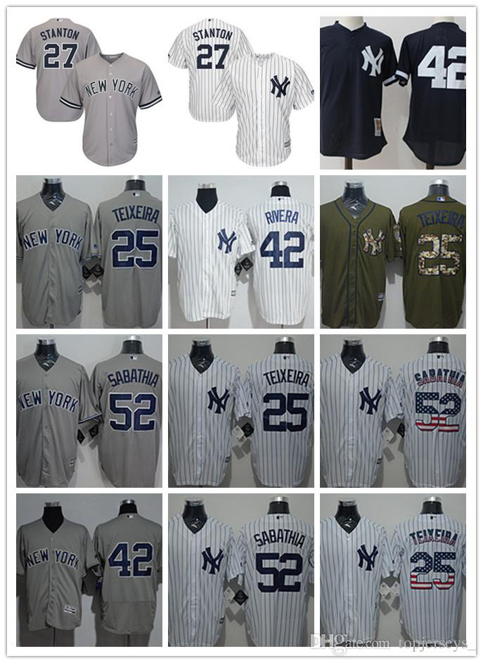 2019 Custom Men Women Youth NY Yankees Jersey  25 Mark Teixeira 27 Austin  Romine 42 Mariano Rivera 52 C.C. Sabathia White Baseball Jerseys From Deem 59a84fa296c
