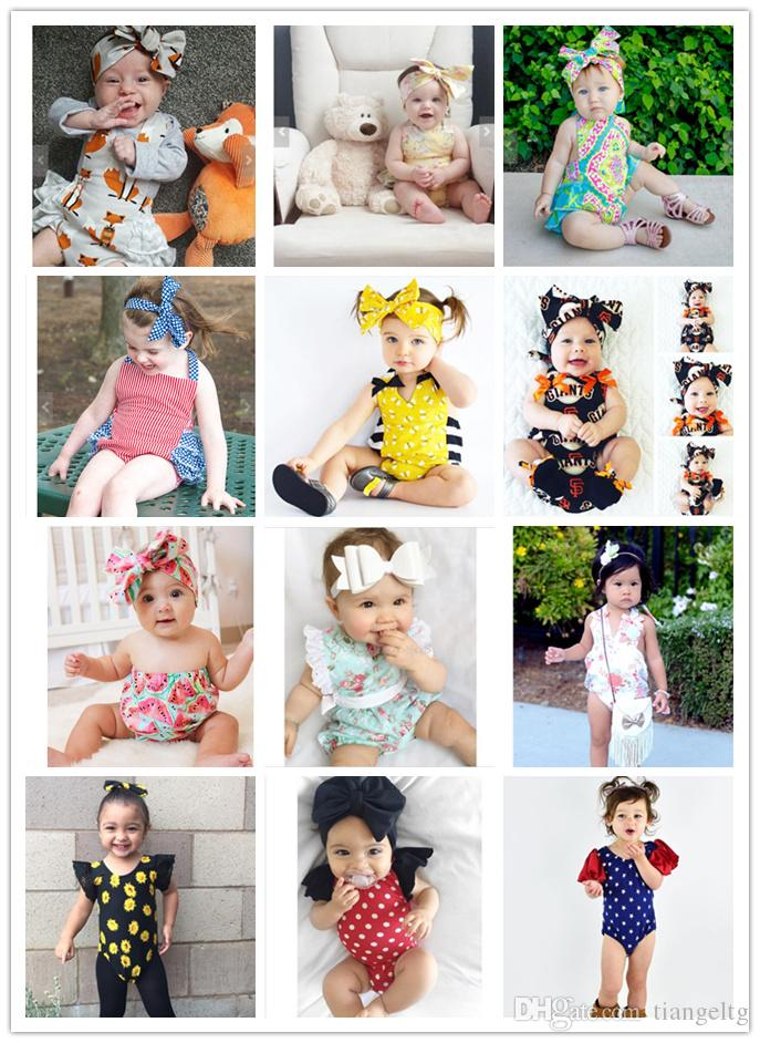 114abdb7ae5b 2019 12 Designs Baby Rompers Headbands Fox Honey Bee Watermelon Flora Dots  Striped Star Printed Lace Triangle Jumpsuit Infant Girls Outfit 6 24M From  ...
