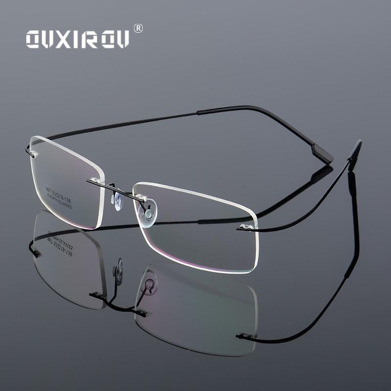 c50ccda458 2019 Lightweight Rimless Glasses Frame Memory Titanium Alloy Eyeglasses  Women Men Square Myopia Optical Glasses Frames Brand S867 From Duoyun