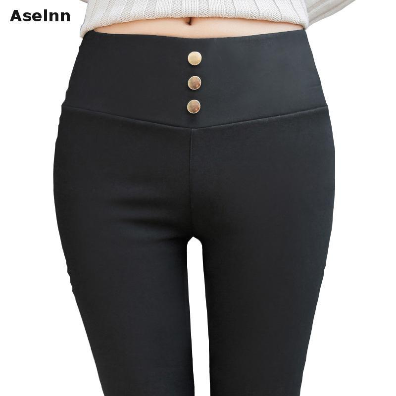 474537dca3e 2019 Aselnn 2018 Spring Autunmn Women Pencil Pants Three Button Design Elastic  Waist Casual Slim Trousers Women Plus Size 3xl From Apparelone