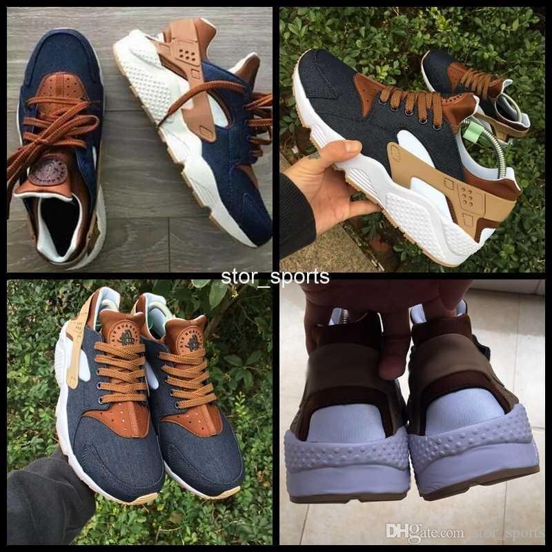 8ed90dde0755 2017 Huarache ID Custom Breathe Running Shoes For Men Women Denim Navy Blue  Tan Air Huaraches Multicolor Sneakers Hurache Sport Mens Sale Cheap Running  ...