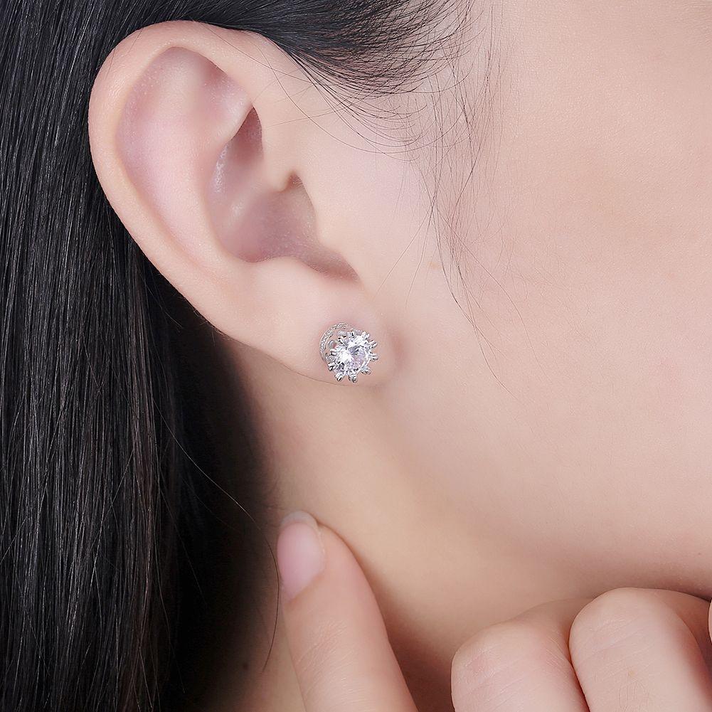 S925 Crown Zircon Stud Trendy Simple Zircon Pure Silver Earrings SVE190