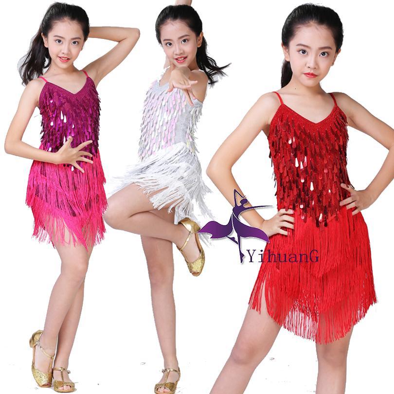 3cf573d63 2019 Children Latin Dance Dress Girls Ballroom Dance Competition ...