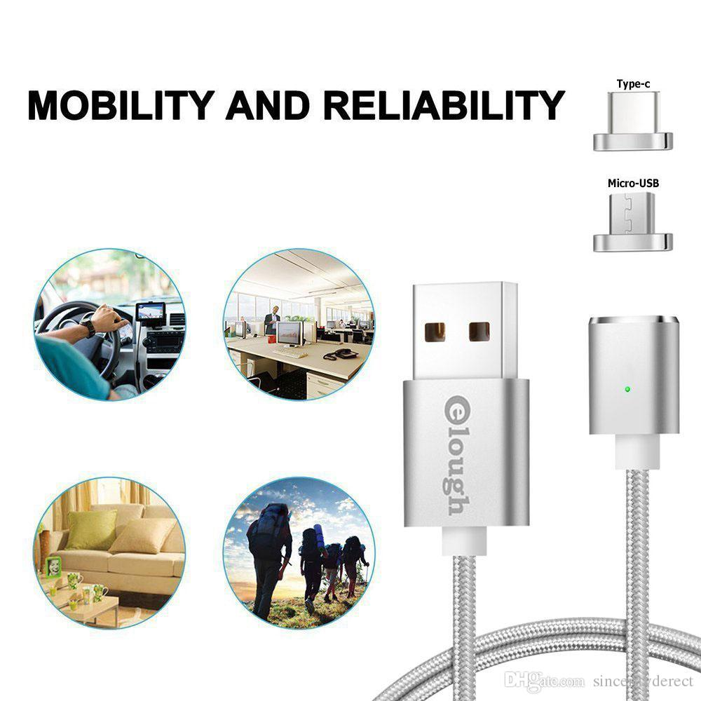 Magnetic Type-C Micro USB LED Fast Charging Charger Cable Wire Data Sync Charger Adapter for Samsung Sony Android