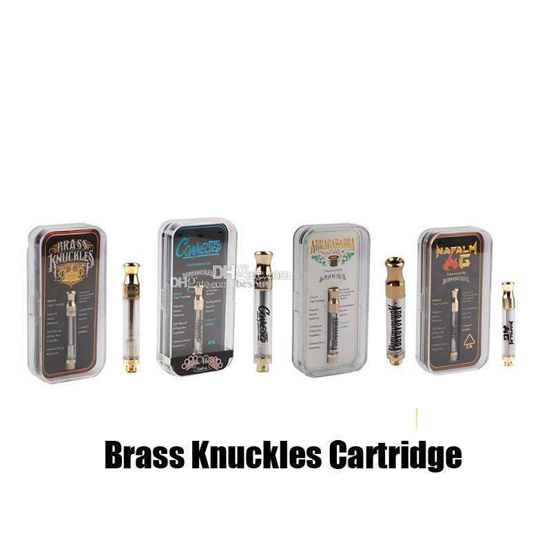 Brass Knuckles Connected Abracadabra Cartridge 0.5ml 1.0ml Vaporizer Gold Cotton Ceramic Coii Atomizer 510 Thread Vape Tank Carts