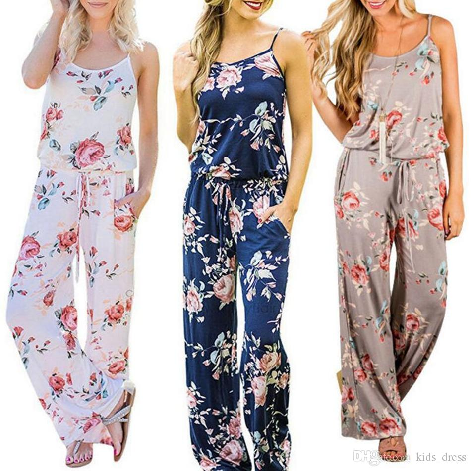 Women Spaghetti Strap Floral Print Romper Jumpsuit Sleeveless Beach Playsuit Boho Summer Jumpsuits Long Pants 3 Colors OOA4330