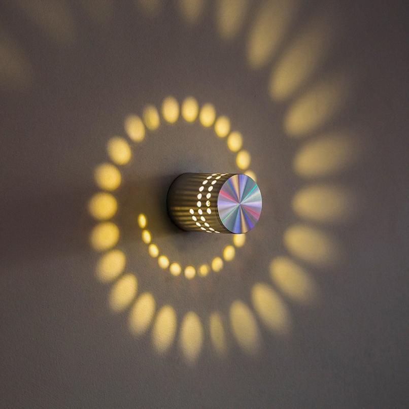 new design light wall sticker spiral hole wall lamp surface install