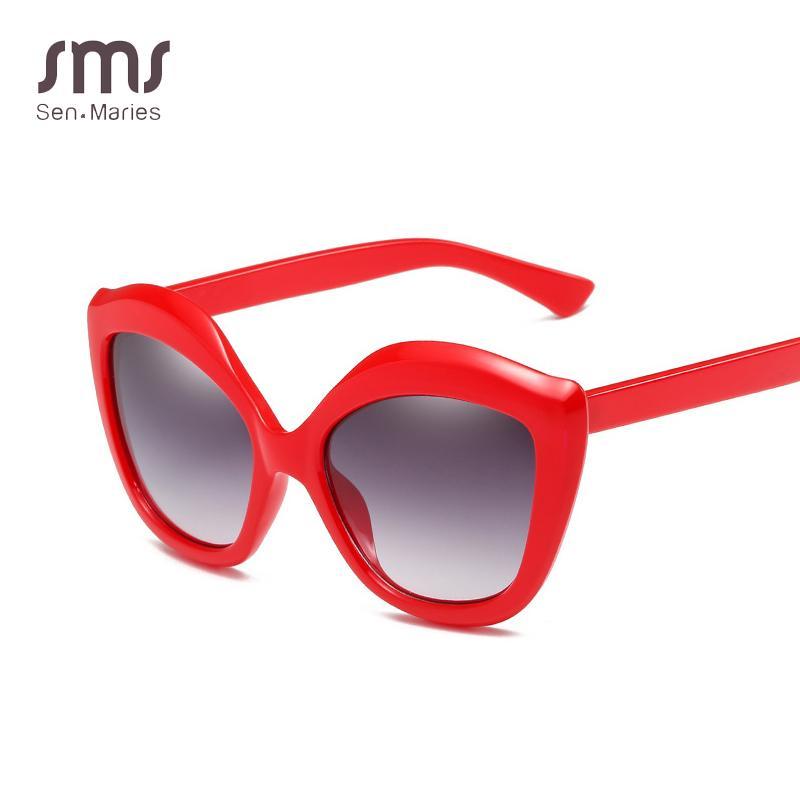 Luxury Brand Designer Cat Eye Sunglasses Women Oversized Fashion Sun  Glasses Female Red Frames Shades Lens For Lady UV400