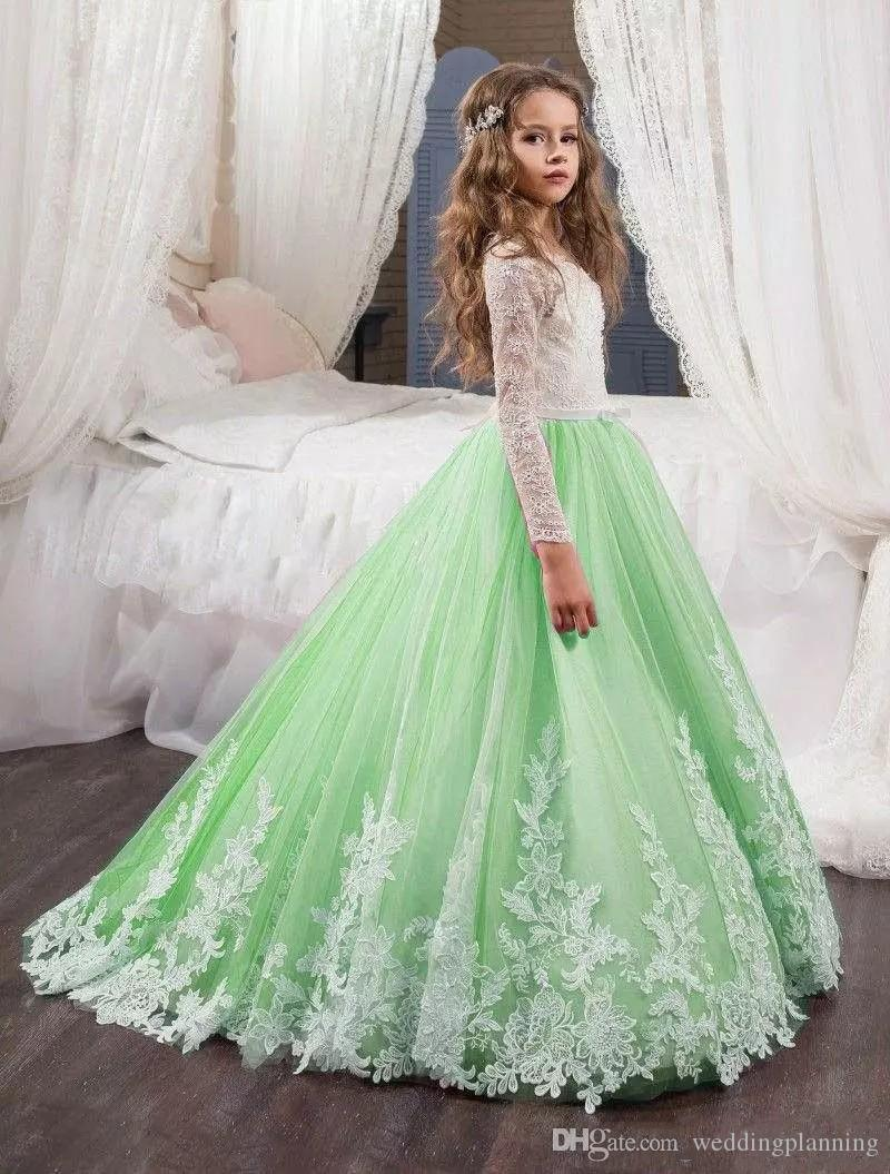 2018 Abiti la prima comunione Abiti la prima volta Mint Green Flower Girl Abiti Matrimoni Beautiful White Lace Maniche lunghe Appliques Kids