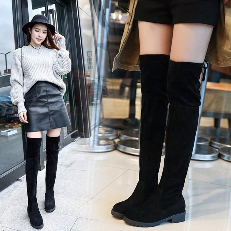 85297c7510b Fashion Lace Up Over Knee Women Boots Ladies Flats Shoes Woman Suede Long Boots  Winter Casual Over The Knee 34 41Size Hiking Boots Shoes For Women From ...