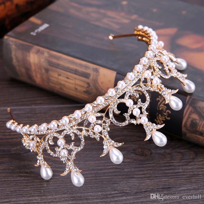 JaneVini Luxury Crystal Rhinestone Headbands Crowns Tiaras 2018 Pearls Wedding Headpieces Hair Accessories Bride Head Jewelry New Arrival