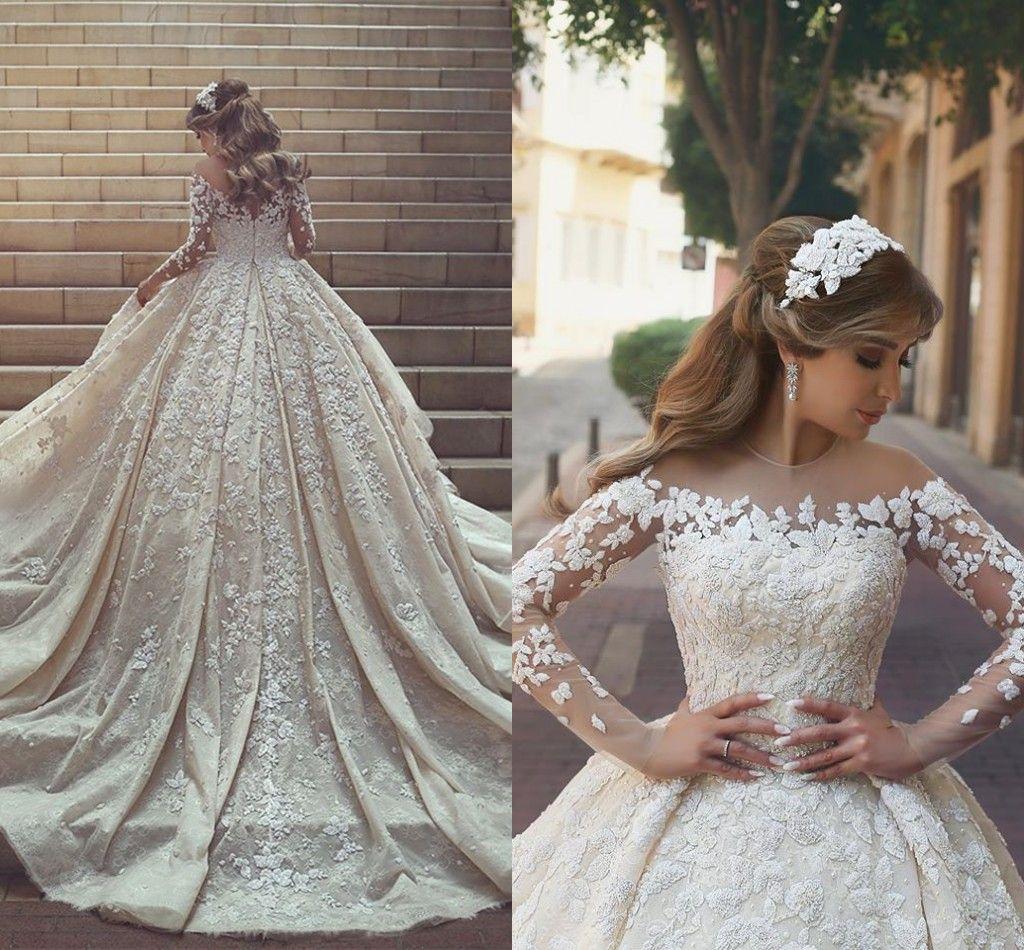 Acheter 2018 Robe De Bal De Luxe Arabe Vintage Robes De Mariee Sheer Neck Dentelle Applique Manches Longues Chapelle Train Robes De Mariee Robes De
