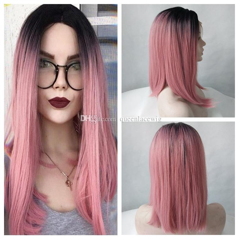 Black Ombre Pink Short Straight Bob Synthetic Lace Front Wig Women