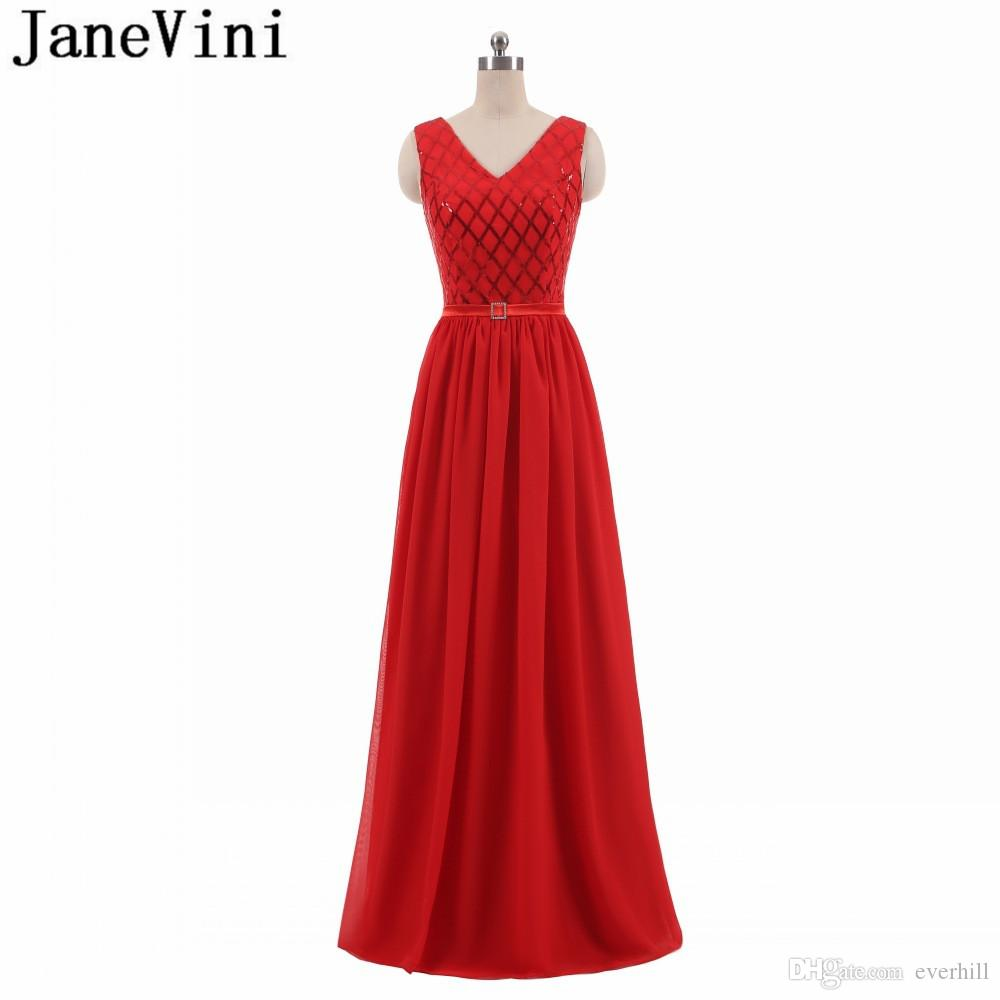 JaneVini Sexy Red Sequin Evening Dresses Long 2018 Prom Party Gowns Chiffon  V Neck Bling Prom Dresses Floor Length Sash Women Formal Dress Edgy Prom  Dresses ... aaeaf3f35ae6