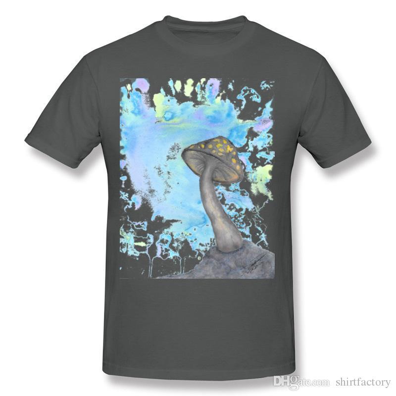 최신 Mens 100면 MushRoom 002 T-Shirts Mens 라운드 넥 퍼플 반소매 셔츠 블라우스 5XL 캐주얼 티셔츠